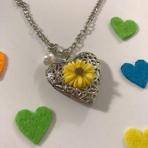 Jewelry - Aromatherapy Heart-Shaped, Flower Locket Necklace